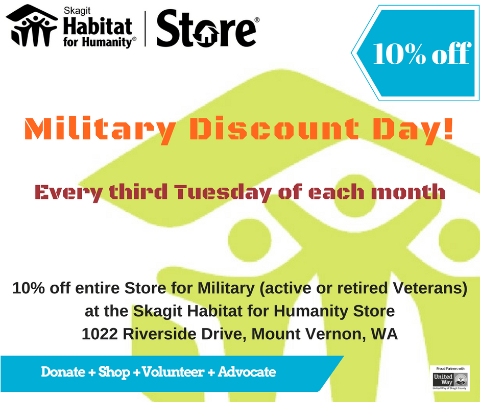 10% off Military Discount 3rd Tue of ea month