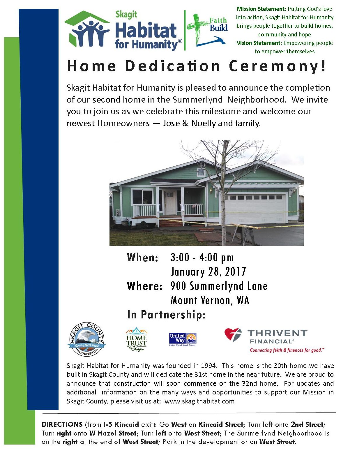 30th Home Dedication 1/28/2017 at Summerlynd Lane