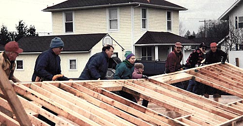 About-Wall Raising of the first Skagit Habitat home 01-95
