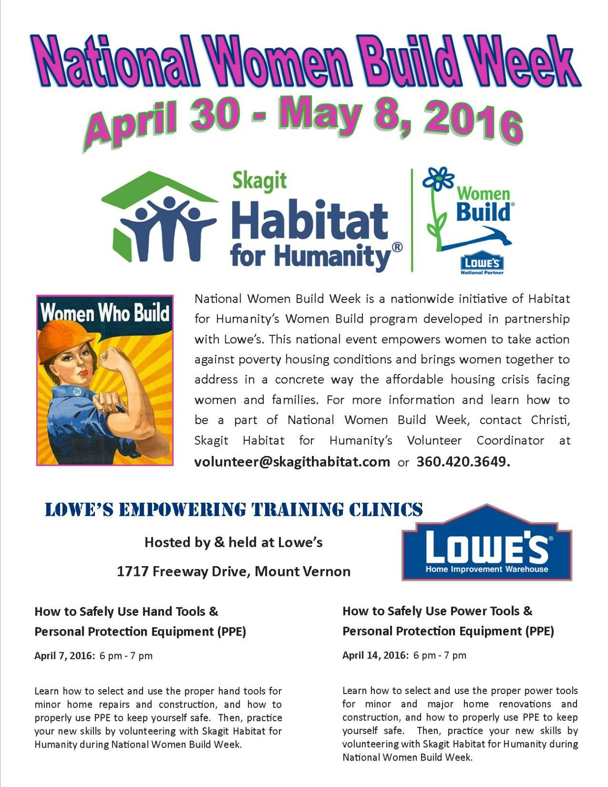 2016.04.7,14 NWBW Lowes Clinic Flyer